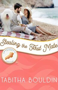 Stealing the First Mate Book Cover: By Tabitha Bouldin, Independence Islands, Elnora Island, a couple on the beach with a big white fluffy dog.